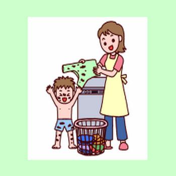 洗濯・布団干し/生活・暮らし/人物/無料イラスト【みさきのイラスト素材】
