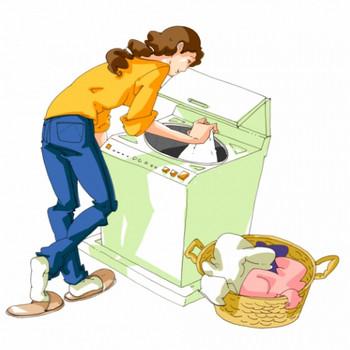 洗濯物を洗濯機に入れている女性のイラスト - 無料イラストのIMT 商用OK、加工OK