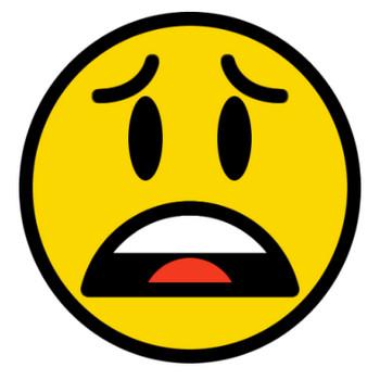 困り顔(呆れ顔)をするニコちゃんマークの絵文字 | 無料フリーイラスト素材集【Frame illust】