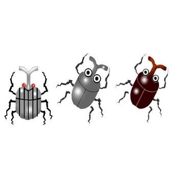 素材屋じゅんのカブトムシイラスト背景素材フリー無料昆虫かぶと虫画像絵カットアイコン
