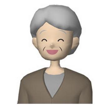 人物の無料イラスト素材 笑顔のおばあちゃん