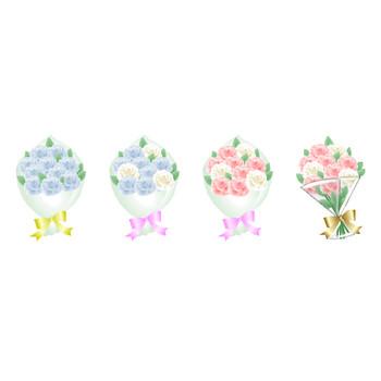 薔薇 バラの花素材、バラの花束【イラスト・アイコン】HPフリー素材(無料)