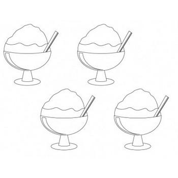 ぬりえ素材・かき氷   イラスト無料・かわいいテンプレート