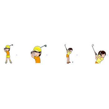 ゴルフの無料イラスト(輪郭線有り)-イラストポップのスポーツクリップアートカット集