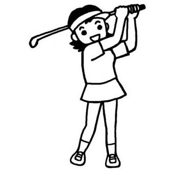 ゴルフ2/スポーツ(球技)/人物/無料【白黒イラスト素材】