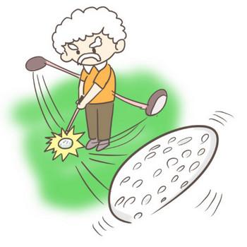 ゴルフをするおじいさんのイラスト!しかもナイスショット!   ぴぴ