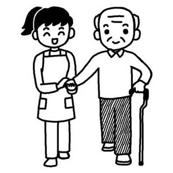 散歩1/敬老の日/秋のイラスト/無料【白黒イラスト素材】