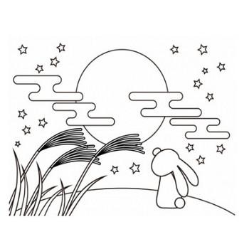 ぬりえ素材・お月見をしているうさぎ | イラスト無料・かわいいテンプレート
