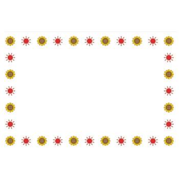 夏(ひまわり、太陽)のシンプル枠イラスト-横 <無料> | イラストK