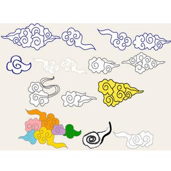 イラスト「中国風の雲(瑞雲)」 フリー素材|はんこ素材【和風素材】