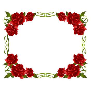 [無料イラスト] 赤いバラのフレーム - パブリックドメインQ:著作権フリー画像素材集