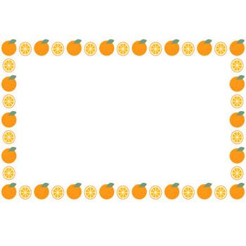 [果物・フルーツ]ミカン(オレンジ)のフレーム飾り枠イラスト   無料フリーイラスト素材集【Frame illust】