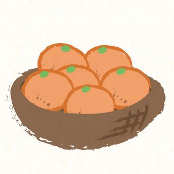ザルに入ったみかん | フリーイラスト素材ならぴくらいく|イベント・動物・季節・食べ物