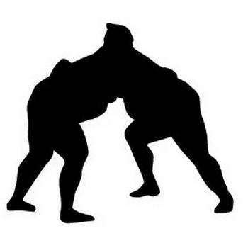 相撲でガップリ組み合う力士のシルエットイラスト | 【無料配布】イラレ/イラストレーター/ベクトル パスデータ保管庫【ai・eps ベクター素材】