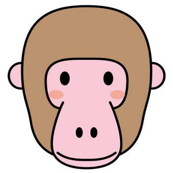 幼稚園児のイラスト・絵カード:さるの顔のイラスト・絵カード