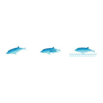 海とイルカのイラスト2[イルカ&クジラ]