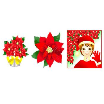 ポインセチアイラスト素材・フリー素材・背景素材・無料・素材屋じゅんクリスマス素材アイコン・画像絵