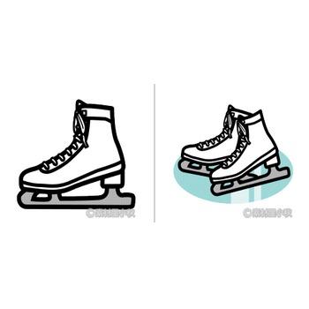 スケート靴のイラスト | 素材屋小秋