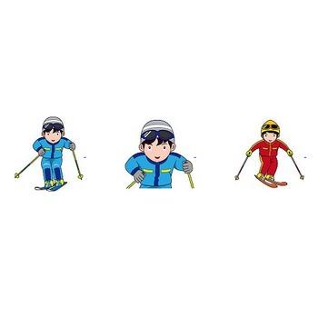 スキー・スノーボードの無料イラスト(輪郭線有り)-イラストポップのスポーツクリップアートカット集