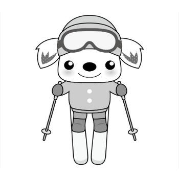 印刷用イラスト スキー(モノクロ)