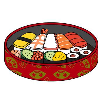 お寿司・お茶(カラー) | 子供と動物のイラスト屋さん わたなべふみ