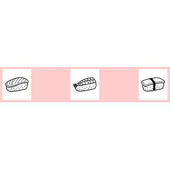 和食(寿司・天ぷら)1/料理/ミニカット/無料【白黒イラスト素材】