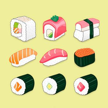 寿司イラストパック ベクター画像 | 無料ダウンロード