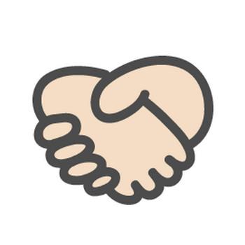 握手マークのかわいい手書き風イラストアイコン | 可愛い絵文字アイコンイラスト『落書きアイコン』