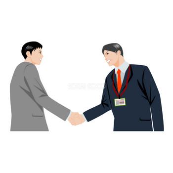 握手をする二人の男性社員 ビジネスマン 無料イラスト | 素材Good