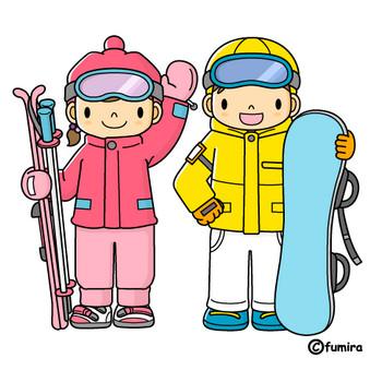 スキー・スノーボードのイラスト(カラー)   子供と動物のイラスト屋さん わたなべふみ