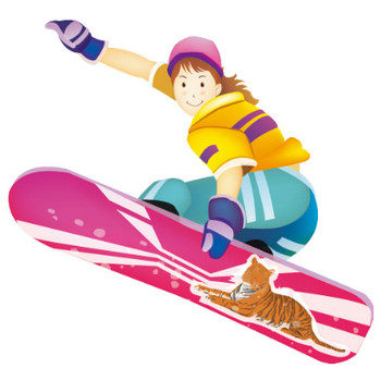 冬のイラストNo.018『スノーボードジャンプ』/無料のフリー素材集【花鳥風月】
