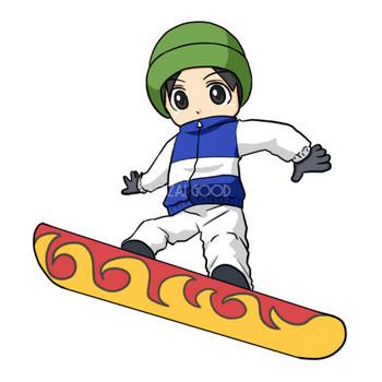 スノーボードをする男性 無料イラスト   素材Good