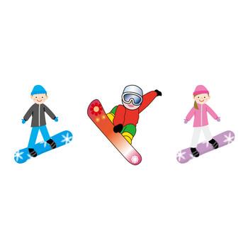 [フリーイラスト] 7種類のスノーボードとスノーボーダーのセットでアハ体験 - GAHAG   著作権フリー写真・イラスト素材集