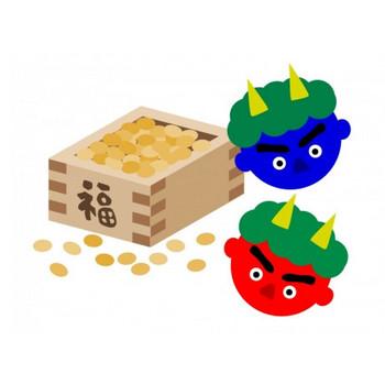 節分の豆と赤鬼・青鬼のイラスト素材 | イラスト無料・かわいいテンプレート