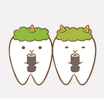恵方巻きを食べる歯のキャラクター|フリー歯科イラスト【歯科素材.com】
