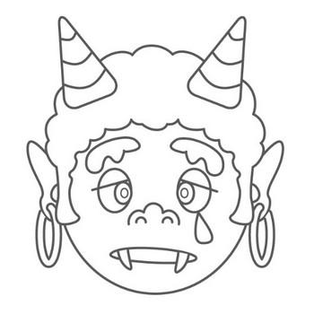 幼児キッズ向けぬりえ遊び季節行事のお面ぬりえ鬼02