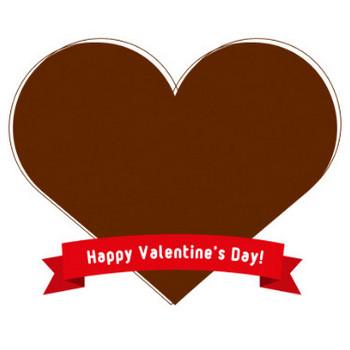 【バレンタイン】リボン付きハート型のフレーム飾り枠イラスト<チョコレート・ピンク> | 無料フリーイラスト素材集【Frame illust】