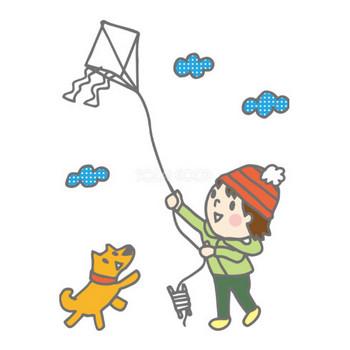 無料イラスト冬 凧揚げしている子供36157 | 商用可のイラスト素材Good