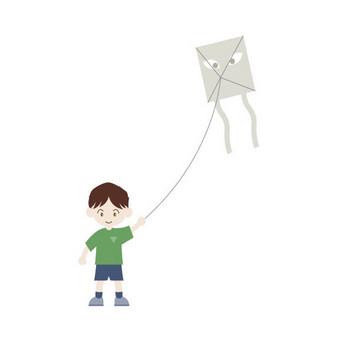 凧揚げ|フリークリップアート|人物素材|イラスト