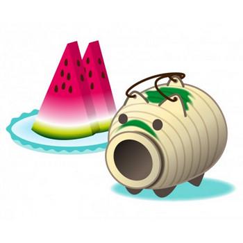 ぶたの蚊取り線香とスイカのイラスト素材 | イラスト無料・かわいいテンプレート