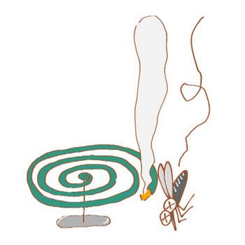 蚊取り線香と蚊のイラスト | かわいいフリー素材が無料のイラストレイン