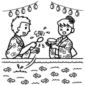 金魚すくい(白黒)/夏祭りの無料イラスト/夏の季節・行事素材