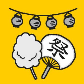 うちわと綿菓子(モノクロ)/夏の花火・縁日の無料イラスト/ミニカット・クリップアート素材