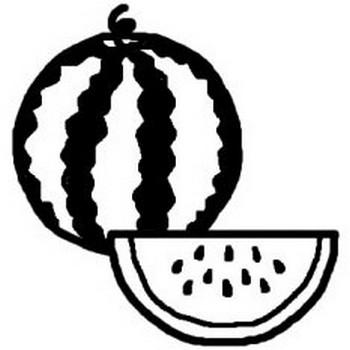 スイカ・すいか(白黒)/果物・野菜の無料イラスト/ミニカット・クリップアート素材