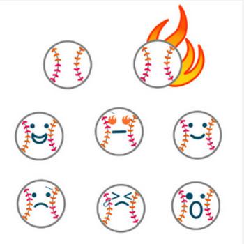 » 野球ボールのイラスト / 基本のと表情付き(ニコニコ・熱血炎など)   可愛い無料イラスト素材集