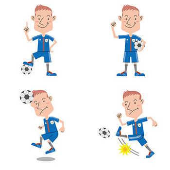 【商用無料】サッカー選手のフリーイラスト素材