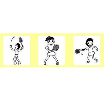 テニス・卓球1/部活動・クラブ活動(運動部)/学校(小学校・中学校)無料イラスト【白黒イラスト素材】