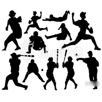 野球シルエットイラスト/無料イラストなら「イラストAC」
