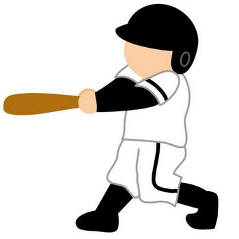 [フリーイラスト] バットを振る野球のバッター - パブリックドメインQ:著作権フリー画像素材集
