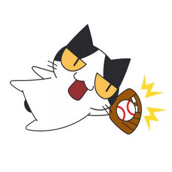 ダイビングキャッチをする野球猫【無料イラスト・フリー素材】